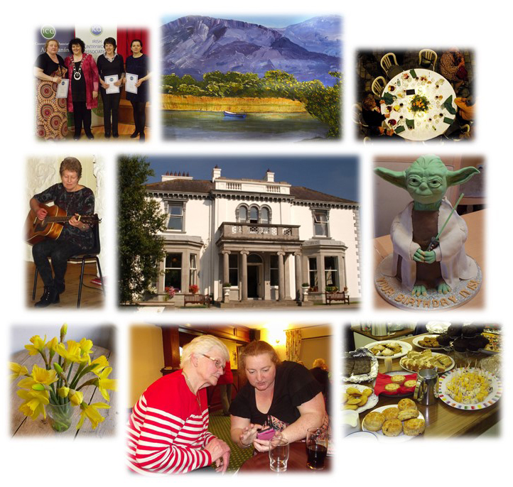An Grianan surrounded by pictures of different activities such as flower arranging painting dining etc