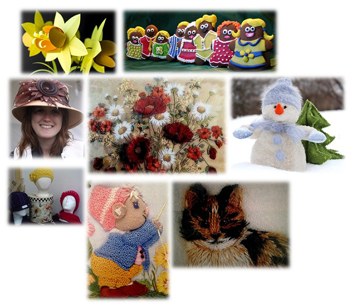Crafts of all kinds - crochet, embroidery, gingerbread men etc